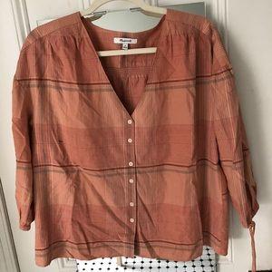 Madewell orange plaid cotton peasant top Sz M